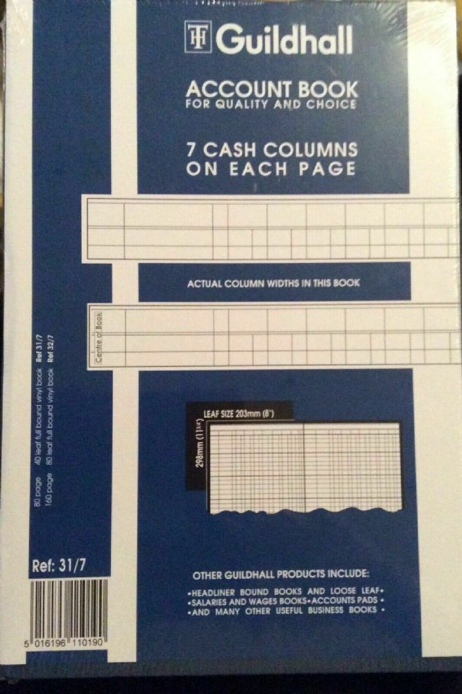 Guildhall Account Book 7 cash columns per page. 80 page. 31/7